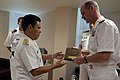 US Navy 100615-N-5319A-034 Capt. Peter Brennan, commodore of Amphibious Squadron (PHIBRON) 5, exchanges gifts with Mexican navy Rear Adm. Arturo Bernal.jpg