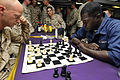 US Navy 100712-N-3154P-022 Sgt. Shane Worley and Boatswain's Mate Seaman Nathaniel Bracewell play chess on the mess decks of the amphibious transport dock USS Ponce (LPD 15).jpg