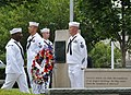 US Navy 100910-N-9852I-041 Chief petty officer selectees at Naval Station Newport participate in a Sept. 11, 2001 remembrance ceremony at the Patri.jpg