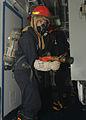 US Navy 100914-N-2218S-044 Sailors man a fire hose aboard the forward-deployed amphibious assault ship USS Essex (LHD 2) during a damage control tr.jpg