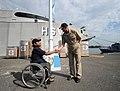 US Navy 110121-N-2984R-079 Cmdr. Mark Becker, mission commander of Southern Partnership Station 2011, greets Omar Cruz, Guatemala.jpg