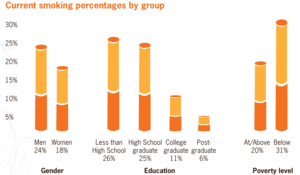 Prevalence of tobacco consumption - Smoking percentages by group in the U.S. (2010)