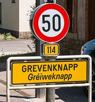 Grevenknapp - Image: Uertsschëld Gréiweknapp 101