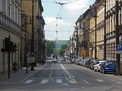 Ulica Piłsudskiego na tle Kopca Kościuszki