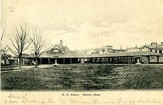Union Station (Palmer, Massachusetts) - An early postcard of Union Station