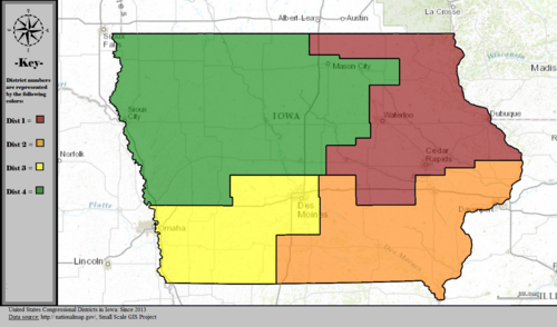 United States Congressional Districts in Iowa, since 2013.tif