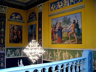 Georg Hilker - The vestibule in the main building of University of Copenhagen, with frescos by Hilker and Constantin Hansen