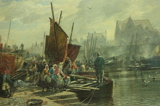 Newhaven, Edinburgh - Unloading the Catch (Newhaven Harbour) by Sam Bough 1861