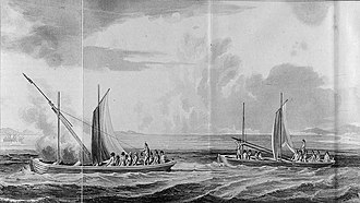 "Congreve rocket - ""Use of rockets from boats"" - An illustration from William Congreve's book"