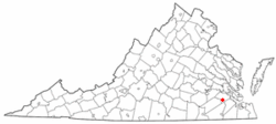 Location of Dendron, Virginia