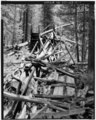 VIEW OF WOODEN FLUME ABOVE PRESSURE BOX, LOOKING SOUTH - Bonanza Hydraulic Mining Site, Flume and Pressure Box, Swamp Gulch, Salmon, Lemhi County, ID HAER ID,30-SAL.V,2-C-1.tif