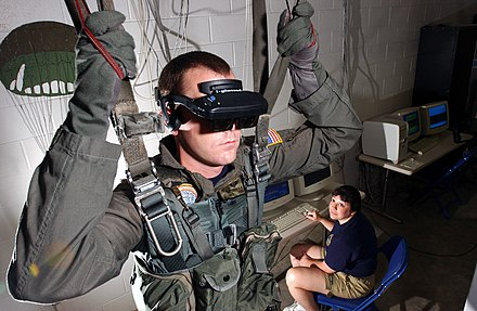 U.S. Navy personnel using a VR parachute training simulator in 2006 VR-Helm.jpg