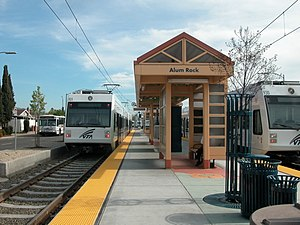 Alum Rock Transit Center - Two VTA trains at Alum Rock Transit Center in 2005