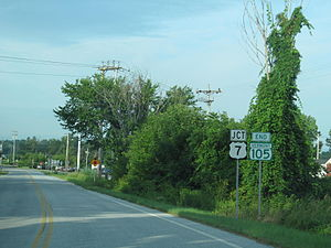 Vermont Route 105 - VT 105 approaching US 7 in St. Albans