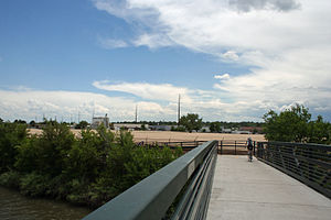 Valverde, Denver - A view from the bike path bridge over the South Platte River looking west over the Valverde Neighborhood.