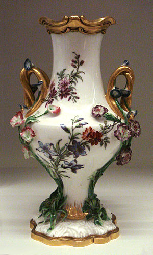 Jean-Claude Chambellan Duplessis - Vase Duplessis, Vincennes porcelain, marked for 1753, with gilt-bronze lip and base.