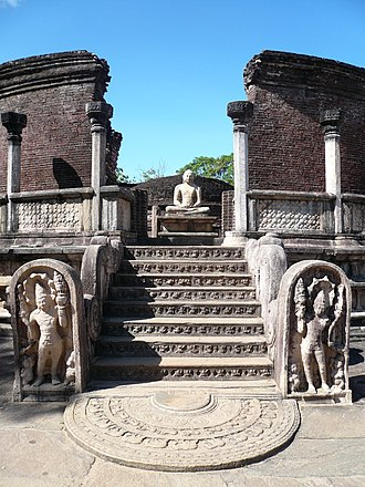 Polonnaruwa Vatadage - One of the four doorways leading to the Vatadage.