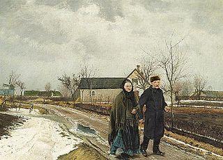 Vejen gjennem Landsbyen. Naar Sneen smelter. Tunge, graa Skyer. Paa Vejen spadserer en Mand i Vinterfrakke og Skindhue sammen med en Kone med graat Shawl og stribet, sort Hovedtørklæde