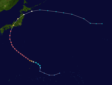 Track of a tropical cyclone as represented by colored dots; each dot represents the storm's position and intensity at 6-hour intervals.