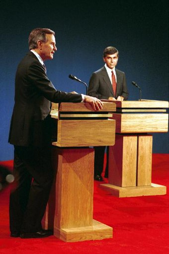 Dukakis debating Vice President Bush in Los Angeles in October 1988. Vice President Bush debates with Michael Dukakis, Los Angeles, CA 13 Oct 88.jpg