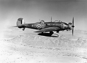 Vickers Wellesley - A Wellesley Mk.I of no. 47 Squadron RAF (as can be seen by the code letters 'KU') over the desert