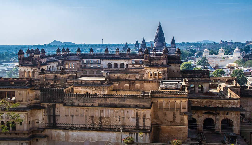 View of Raja Mahal from Jahangir Mahal with Ram Raja Temple and Chaturbhuj Temple in the background, Tikamgarh