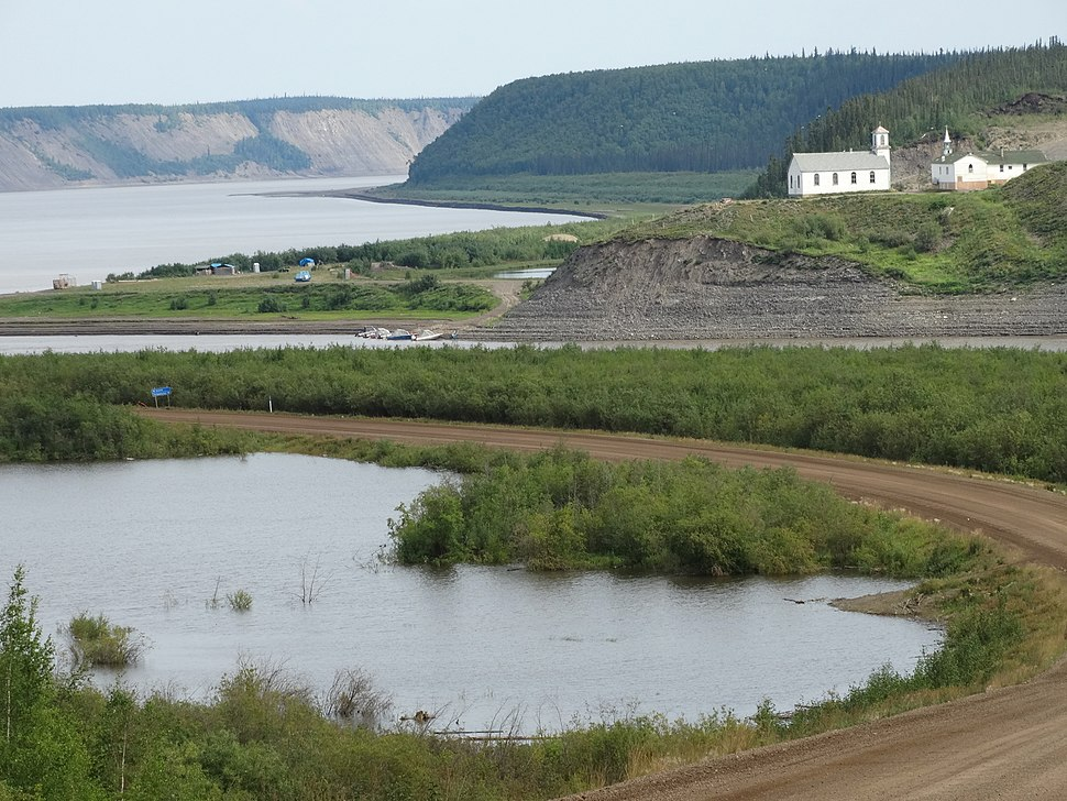 View over Churches and Shoreline - Hamlet of Tsiigehtchic - Near Inuvik - Northwest Territories - Canada