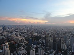 View to the southwest from Baiyoke Tower II at sunset.jpg