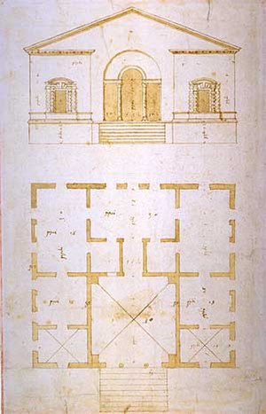 Villa Valmarana (Vigardolo) - Autograph drawing by Palladio (London, RIBA XVII/2r).