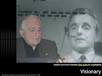 """The Mother of All Demos - Image: Visionary Doug Engelbart did quite a bit more than invent the mouse, but also pioneered the Graphics User Interface. His Stanford demo in 1968 """"The Mother of all Demos"""" was groundbreaking vision for (1805321166)"""