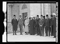 Visit of H.R.H. Princess Mary and the Earl of Harwood. March 1934. Princess Mary, The Earl of Harwood, and the Grand Mufti, etc. At the Mosque el-Aksa (i.e., al-Aqsa) LOC matpc.15796.jpg