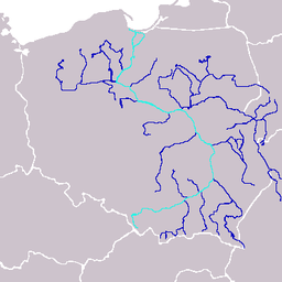 Kort over Wisła med bifloder.
