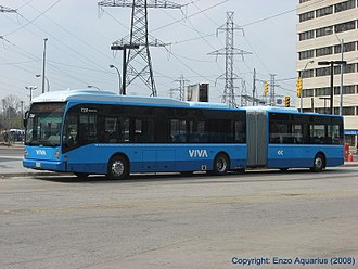York Region Transit - Viva uses a special fleet of high-end NovaBus and Van Hool buses