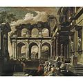 Viviano Codazzi and Domenico Gargiulo (Attr.) - A capriccio of the internal courtyard of a ruined palace with the miracle of St Paul.jpg