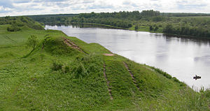 Volkhov River - 8th to 10th century Viking burial mounds along the Volkhov near Staraya Ladoga