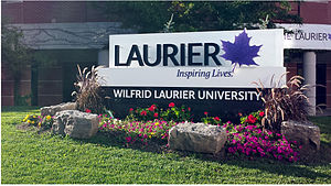 Wilfrid Laurier University - Laurier landmark sign, at the corner of King Street North and Bricker Avenue