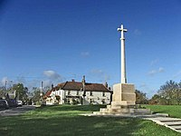 War Memorial with Sun Public House in background, Northaw - geograph.org.uk - 74124.jpg