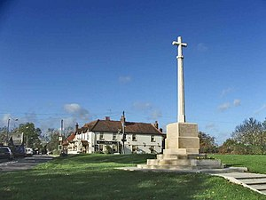 Northaw and Cuffley - Image: War Memorial with Sun Public House in background, Northaw geograph.org.uk 74124