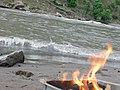 Water and Fire at the same Picture at Neelam Valley near Sharda - Neelum River in Sharda.jpg