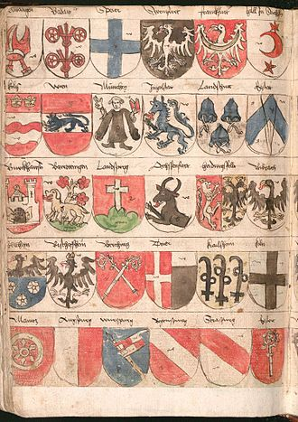 Roll of arms - Folio 259v. from Wernigerode Wappenbuch, Bavaria, c. 1486–1492