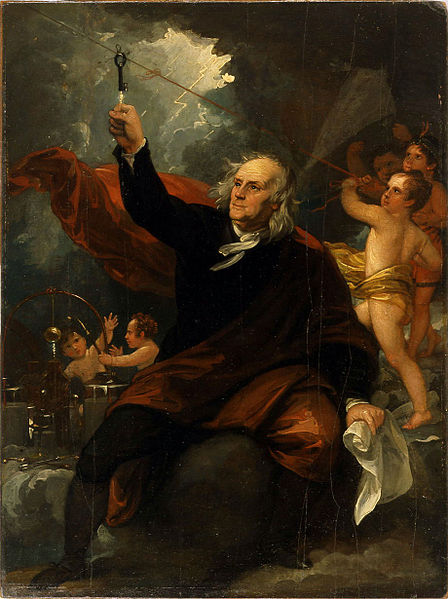Benjamin Franklin Drawing Electricity from the Sky (Benjamin West painting 1816) on BingoforPatriots.com