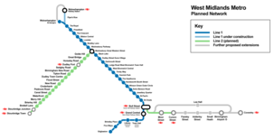 West Midlands Metro schematic map showing planned and proposed extensions