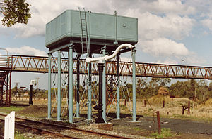 South Maitland Railway - Weston water tank, note AA Co. cast into end panels