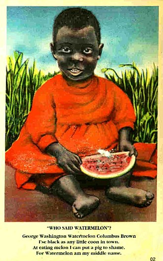 Watermelon stereotype - Pickaninny caricature from the early 1900s. The postcard shows a picture of a black boy eating a watermelon, with a stereotypical poem inscribed underneath.