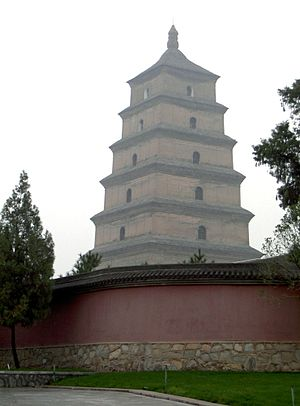7th century - The Tang Dynasty Giant Wild Goose Pagoda of Chang'an, built in 652, in modern-day Xi'an, China.