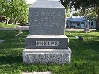 "W. W. Phelps (Mormon) - Phelps' grave marker. The back is inscribed with the words ""There is no end to matter/There is no end to space/There is no end to spirit/There is no end to race. There is no end to glory/There is no end to love/There is no end to being/There is no death above,"" from the hymn ""If You Could Hie to Kolob""."