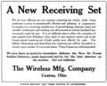 Wireless Manufacturing Company ad from the March 1916 QST.png