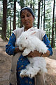Woman with a rabbit in Manali in 2009.jpg