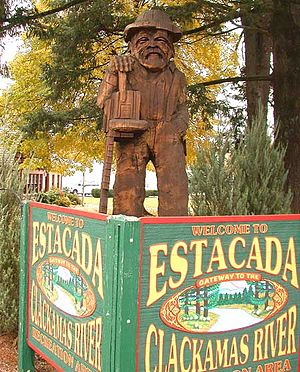 Estacada, Oregon - Sculpture in front of City Hall in downtown Estacada