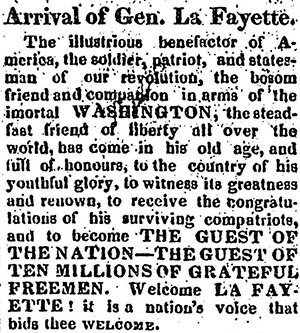 Lafayette Welcoming Parade of 1824 (New York City) - An account in the Woodstock Observer of Lafayette's arrival in New York.